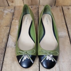 COACH Ballet Flats Green Black Charms Size 7.5 B